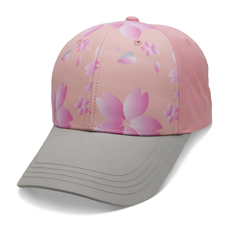 Personalized Ladies Baseball Cap , Sublimation Flower Baseball Hat Breathable
